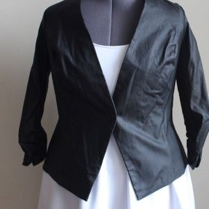 Fashion to Figure Jackets & Coats - Black Faux Leather Blazer - 3/4 ruched sleeves